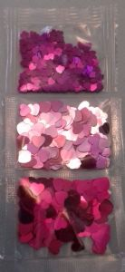 3 x pink heart sequins / confetti  packets
